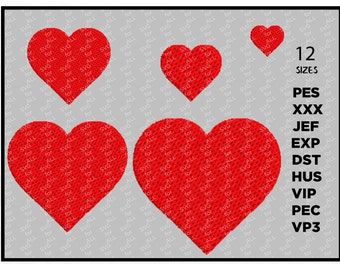 Heart Embroidery Design - Machine Embroidery Heart Download - XXX,pec,jef,hus,exp,dst - 11 dimensions
