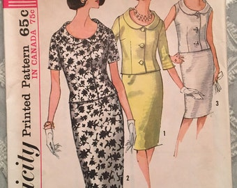 Vintage 1960's Sewing Pattern Simplicity 5819 Mod Suit Mad Men dress pattern Size 14 Bust 34