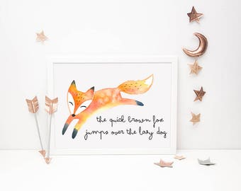 Fox Printable // The Quick Brown Fox Jumps Over the Lazy Dog, Fox Artwork, Office Art, Nursery Print, Illustration Gift, Fox Print