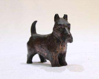 Vintage Scottie Dog Cast Iron Paperweight, Scottish Terrier Metal Figurine