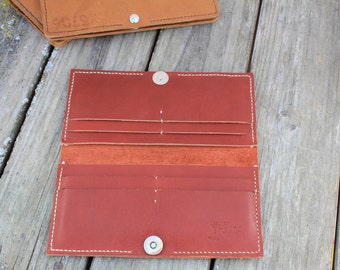 Women's leather wallet   red leather wallet   women's bi-fold wallet   handmade, hand-stitched leather wallet   made in america