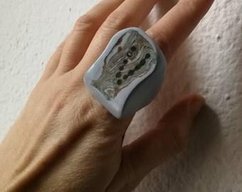 Blue Сocktail Ring Porcelain Ceramic Phalanx Jewelry Unique Bold  Midi Statement Ring Millefiori Milange Pottery Bocho Kunstkeramik