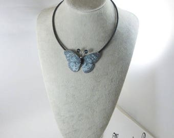 Butterfly blue cord silk black silk thread necklace