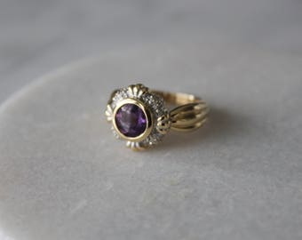 Amethyst and Diamond Vintage Engagement Ring | 14k White and Yellow Two-Tone Gold | Size 7.5