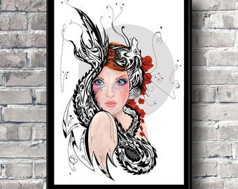Pop surrealism art print Mothers day gift Childrens room Teenagers room Home decor Female portrait Dragon Poppies