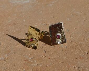 Earrings 18 K, diamond, Ruby Earrings, dangle earrings square earrings earrings hammered.