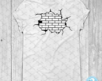 Brick Wall SVG PNG DXF Eps Cutting Files for Silhouette Cameo Cricut - Wall Clipart Wall Vector - Wall Decal - shirt cut file iron on