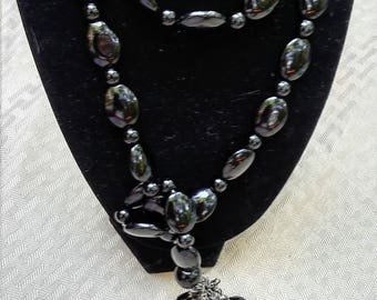 "Onyx ""Scarf"" Necklace with Jet Tassels"