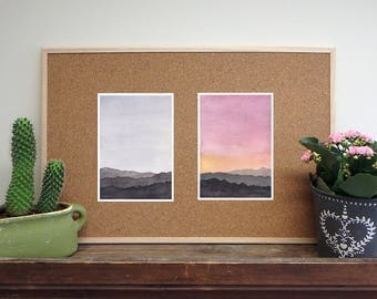 Set of 2 watercolors of minimal mountains art - giclee print