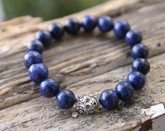 Lion lapis lazuli bracelet Lion bracelet Lion gemstone bracelet Blue gemstone bracelet Lapis lazuli gemstone bracelet Lapis lazuli jewelry