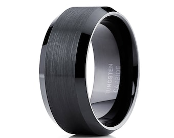 Black Tungsten Wedding Band  Tungsten Carbide Ring Men & Women Black Wedding Band Anniversary Tungsten Ring Comfort Fit