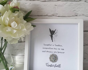 Disney inspired quote box frame with sparkly crystal embellishment. For stylish homes, gifts, birthday, anniversary, or chic nursery decor