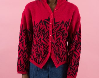 Knit Sweater, 90s Sweater, Geometric, Red Sweater, 90s Clothing, Heathers, Intarsia, Pattern, Kitsch, Graphic, 90s Vintage, Long Sleeved