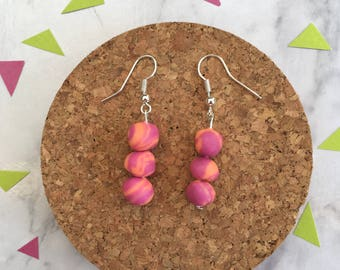 Dreamy Droplets in Berry •  Polymer Clay  •  Handmade  •  Stainless Steel  • Gift Idea  • Earrings • Unique