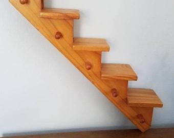 Vintage Wooden Stair Shelf, Wall Display, Hanging Pegs/Knobs