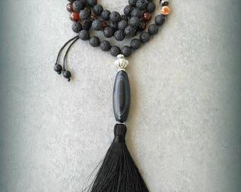 Meditation Mala, Handmade, Lavabeads, Agate, Tassel, Japamala, Long Necklace, Spiritual healingEthnic, Tribal, Boho,