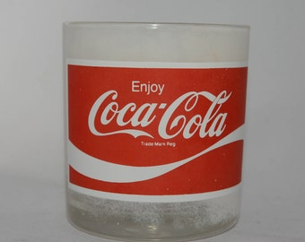 "Coca Cola Glass, Glass Cup, Coca Cola Collectible Glass, frosted, white, ""Enjoy Coca-Cola"", logo, Vintage"