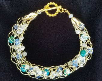 What a Wonderful World Gold Wire, Quartz, Jasper, and Glass Bead Bracelet