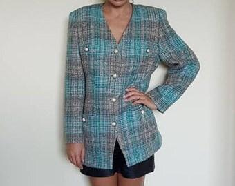 Vintage wool jacket,Chanel style jacket,Classic jacket,Spring jacket,Jacket for fall,Trend jacket,Multicolor jacket,Elegant jacket,38 size