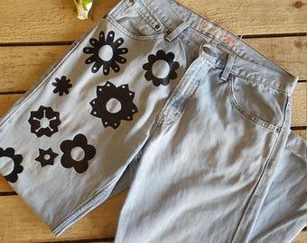 Vintage Levi Jeans With Floral Detail