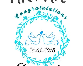 Personalised Wedding Congratulations Greeting Card 5x7'' w/ Envelope