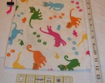 Colorful Kitties Handmade Drawstring Bag