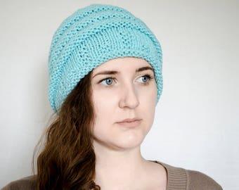 Turquoise blue hand knitted wool slouchy winter beanie hat  Warm wool baggy beanie  Women men fashion beanie hat  Trendy winter accessories