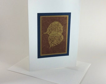 Golden leaves on bronze embossed blank card, individually handmade: A7, notecards, fine cards, SKU BLA71011