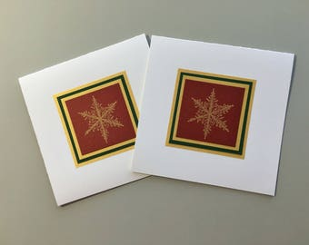 Gold snowflake on deep red Christmas cards (set of 2), individually handmade: happy holidays, holiday cards, SKU HPSQ1001