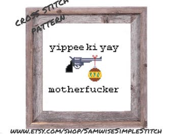 Die hard, yippie ki yay funny Christmas cross stitch PATTERN