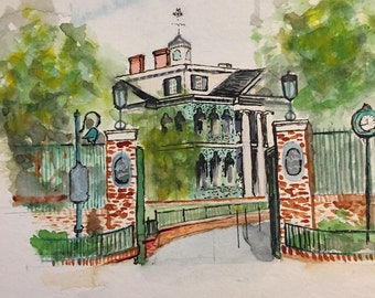 The Haunted Mansion Inspired Watercolor Painting