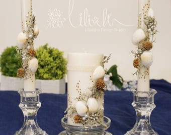 Personalized Beach wedding Unity Candle Set, Handmade,  Outdoor Wedding, Vintage candles, Decorated Beach theme (3pc set)