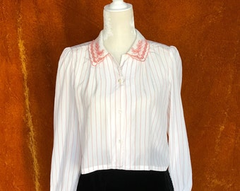 Crop Top, Vintage 1980s Blouse, Women's Medium, Pink Striped