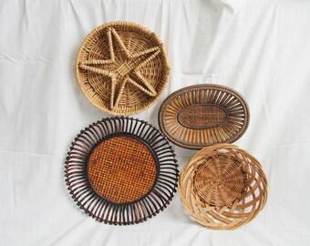 Large Set Of 4 Wicker Rattan Straw Wall Hanging Baskets: Bohemian Home Decor