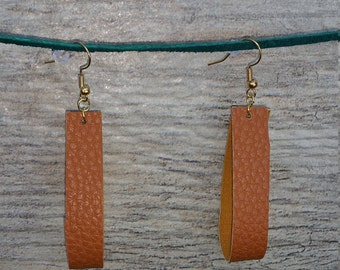 Rustic Camel Leather Strap Earrings Joanna Gaines Inspired Vegan Light weight