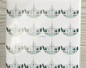 "40 Bountiful Utah Temple 1"" round stickers"