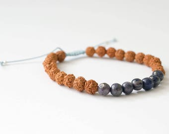 Third Eye Chakra Bracelet - Crystal Mala Bracelet, Gemstone Mala Bracelet, Yoga Chakra Bracelet, Healing Bracelet, Bohemian Mantra Bracelet