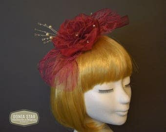Fascinator Burgundy color, Bordeaux Kleur haaraccesoires, handmade in Belgium