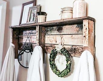 Reclaimed Wood Pallet Wood Five Hook Shelf Towel Rack Coat Rack