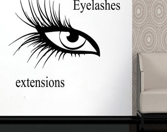 Wall Decal Window Sticker Beauty Salon Woman Face Eyelashes Lashes Eyebrows Brows t664