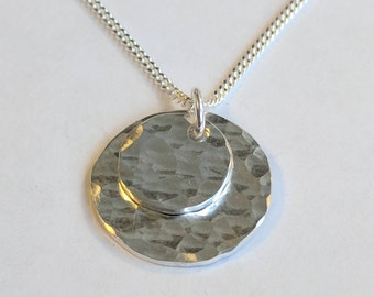 Hammered Circle Double Pendant - Sterling Silver