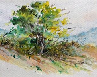 A tree, Original watercolor painting, Tree painting, Wall Decor