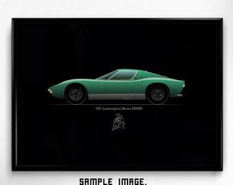 DIGITAL PRINTABLE car ART, Lamborghini Miura, Classic sport, Minimal style, Wallart, Poster, High resolution, Instant download, Minimalism