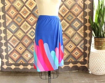 vintage op art skirt swim cover, womens size xs small . bright blue faux wrap skirt with abstract geometric print, swimsuit coverup