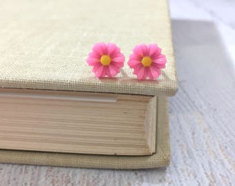 Little Pink Gerbera Daisy Stud Earrings with Surgical Steel Posts, Small Carved Spring Easter Daisies for Flower Girls and Weddings (SE18)