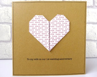 1st anniversary card - romantic origami heart personalised greeting card - paper wedding first anniversary - husband wife - Handmade in UK