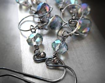Seafoam Rain Earrings - Soft Water Aqua Teardrops with Sheer Rainbow Iridescent Finish, Oxidized Sterling Silver Chain, Long Dangle Earrings