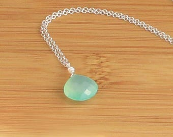 Blue Chalcedony Necklace, Long Pendant Necklace, Aqua Blue Chalcedony, Beach Wedding Jewelry