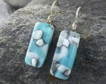Turquoise/White/Ivory Glass Earrings in Organic Design. Fused Glass Earrings. Wearable Art Glass Jewelry. Modern Jewelry Design.