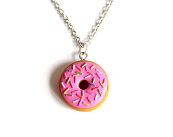 Small Donut Necklace, Pink Doughnut Pendant Necklace, Chocolate, Kawaii Necklace, Polymer Clay Food Jewelry, Kitschy jewelry
